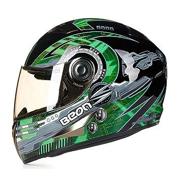 Goney Casco de la Motocicleta, Casco Completo para Adultos Casco de Kart Unisex Luz Segura