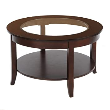 Bay Shore Collection Round Glass Top Coffee Table, Espresso, 30 Inch