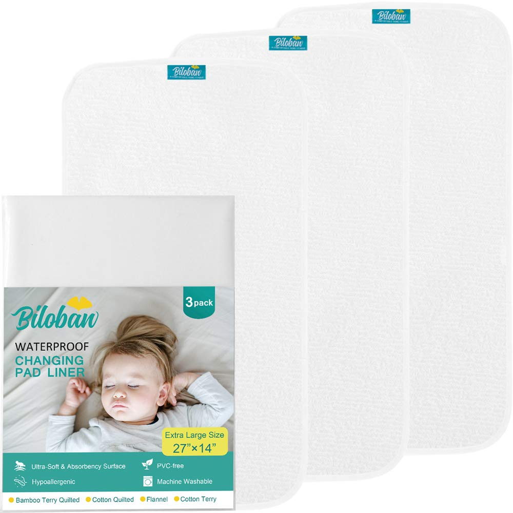 Changing Pad Liner Waterproof (3 Pack Large) - Hypoallergenic Cotton Terry Surface, Non Chemical & Washable Star