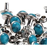 8MM Blue Turquoise Rivets Rapid Rivets Studs DIY Leather Craft Decorative for Bag Shoes Bracelet Tandy Leather - 100 PCS, By eArt