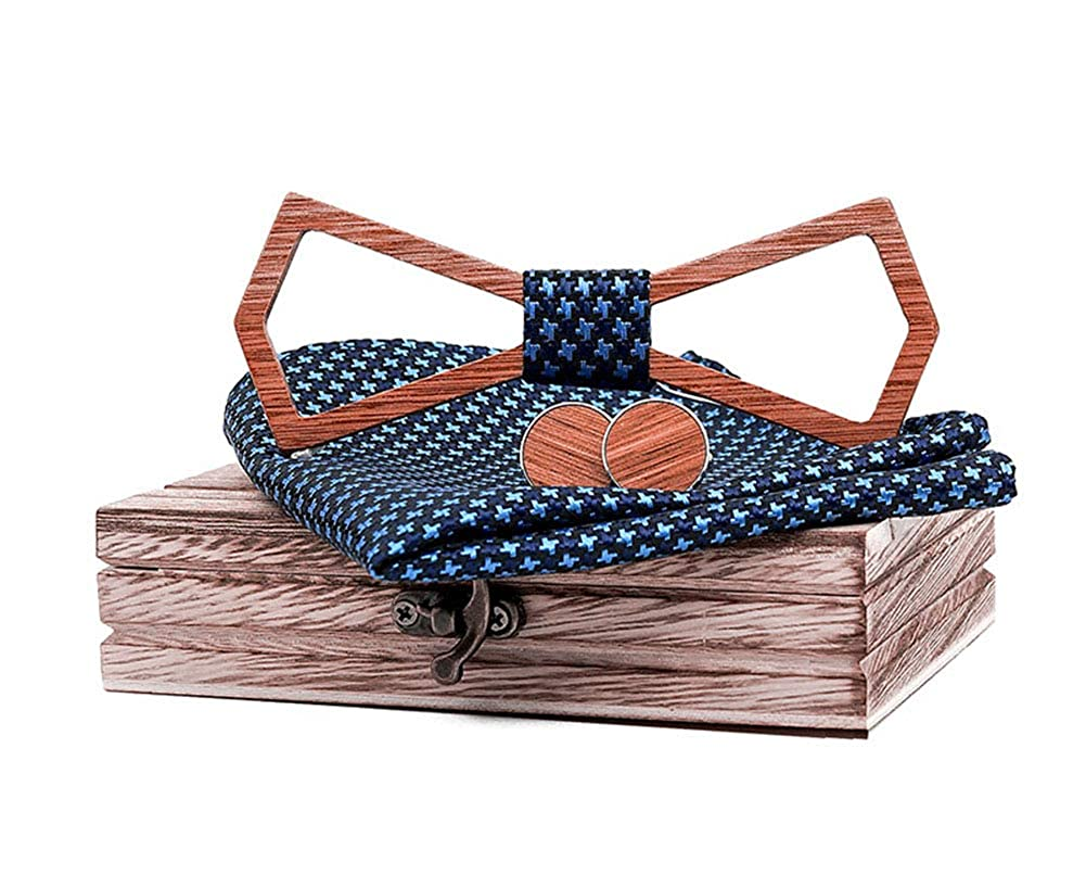 TORMROAD TM Handmade Carving Hollow Out Wooden BowTie Necktie with Matching Pocket Square Mens Cufflinks Set TZ003