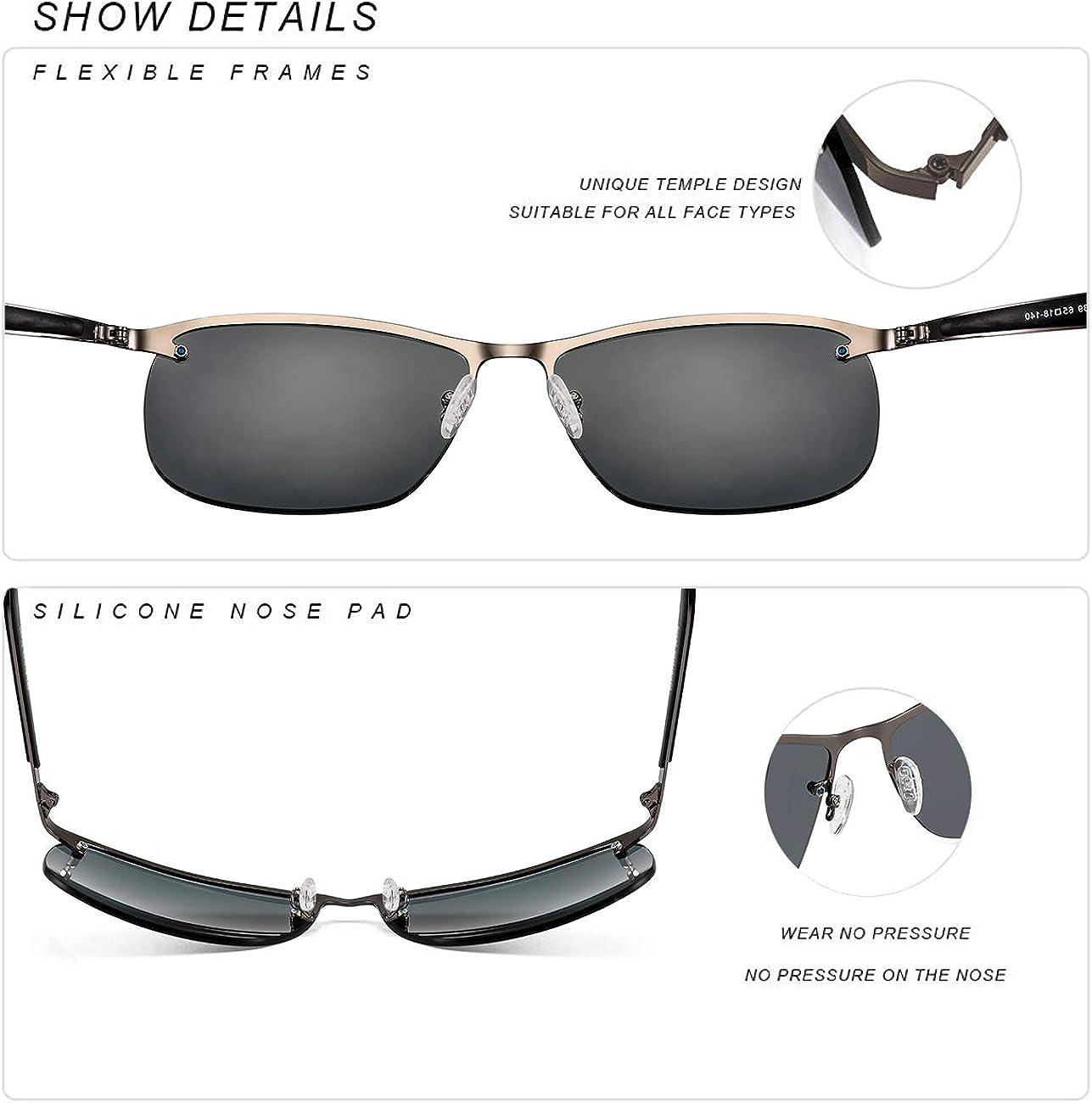 MS Polarized Sunglasses for Men Driving glasses Rectangular half frame Vintage Sun Glasses For Men//Women