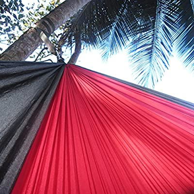 Ten After Twelve Heavy Duty Two Person Hammock, Double Wide Portable Nylon Camping Hammock, 400+ Pound Capacity, Red and Black: Sports & Outdoors