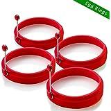 Hao Kaisen Ei Rings Pfannkuchen Form antihaftbeschichtetes Silikon für runde Spiegeleier (4 Stück)