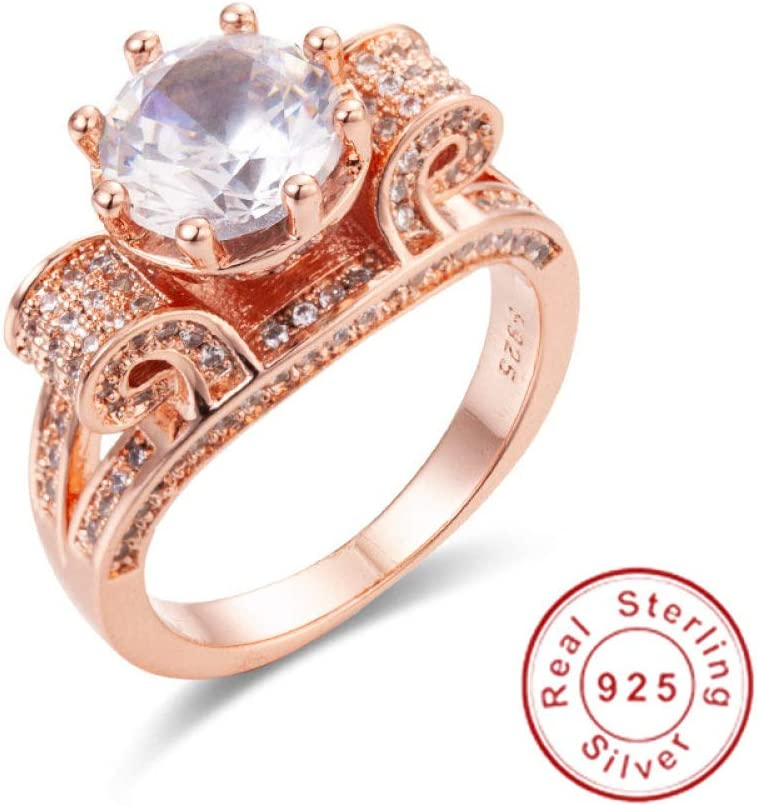 MYLDML Anillo Real Sólido 100% Plata de Ley 925 & amp;Oro Rosa Flor de Loto Anillos Joyas de Boda para Mujeres 4ct Anillo de Diamante simulado sz 5-10