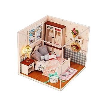 Goolsky DIY Haus Miniatur Kit Puppenhaus Kreativraum Mit Möbel LED  Stimmenkontrolle Schalter Staubdichte Abdeckung Für