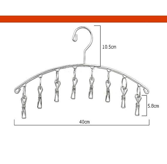 Perchero de secado con 8 pinzas clip tendedero de 4 mm de acero inoxidable con gancho antiviento 2 piezas