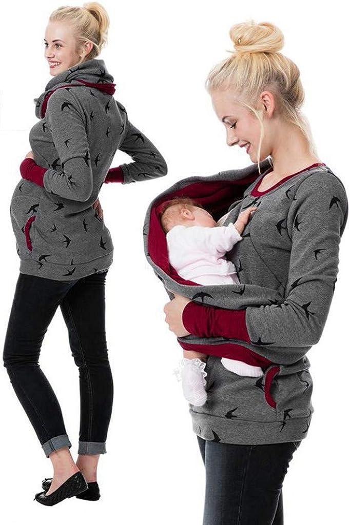UEANRFA Womens Maternity Sporty Hoodie Breastfeeding Shirt Nursing Sweatshirt with Pockets