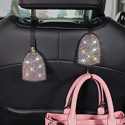 Pinbola 2pcs/Pack Bling Bling Car Back Seat Hidden Hook Headrest Hanger Luster Crystal Diamond Car Decor Accessories for Women Universal Fit: Automotive