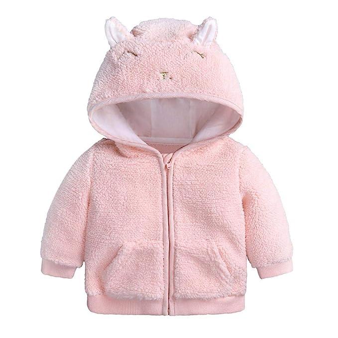618cc9726 Dinlong - Chamarra de Forro Polar con Capucha para bebés, niños y ...