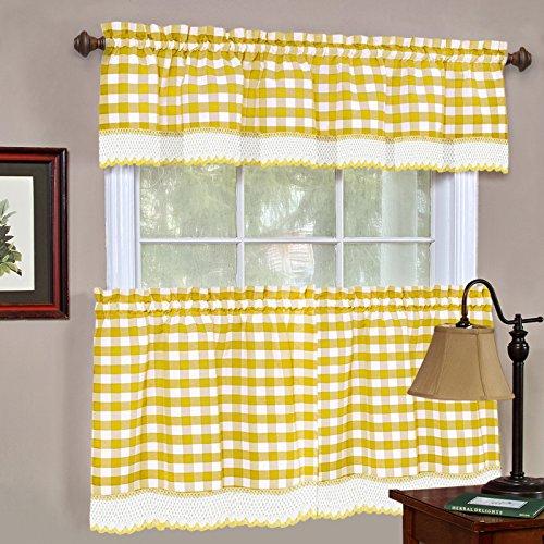 Designer Home Window Panel Curtain Checkered Drape 3-Piece Tier Valance Set Plaid Gingham Check Yellow