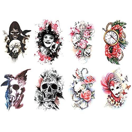 - Oottati 8 Sheets Temporary Tattoo Arm Leg Stickers Grim Reaper Joker Card Skull Rose Clock Mask