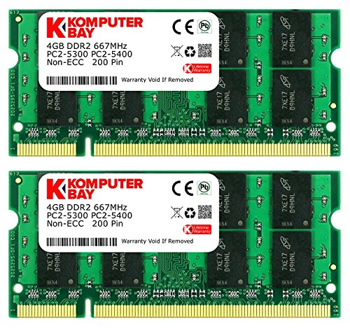 Non Ecc Cl5 200 Pin (Komputerbay 8GB (2x 4GB) DDR2 667MHz PC2-5300 PC2-5400 SODIMM CL5 200-Pin 1.8v Unbuffered NON-ECC DDR2-667 Memory Modules)