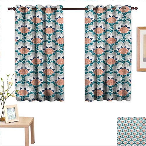 MartinDecor Floral Waterproof Window Curtain Mandala Turkish Ottoman Arabesque Flowers Sacred Oriental Classic Bohemian Pattern 55