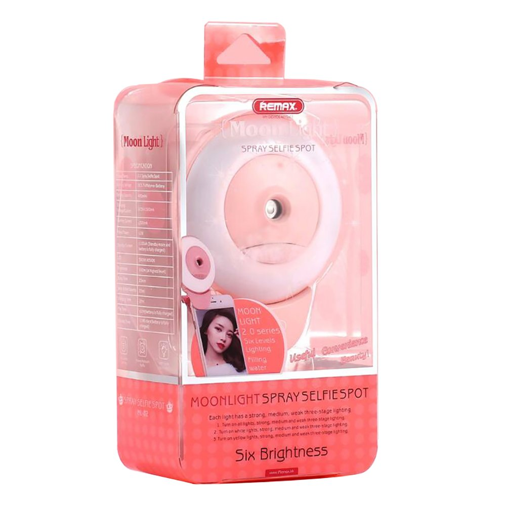 MKDMiD Selfie Ring Light & Facial Mist Sprayer 2 in 1 Mini Facial Mist Humidifier with Clip, 100 Lumens LED Ring Light USB Rechargeable or All Smartphones (A/Pink)