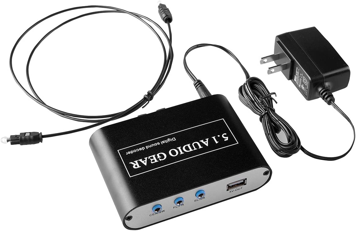 TOPCHANCES Digital to 5.1CH Earphone Decoder with USB Play VK-DEA
