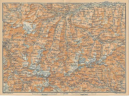 Italian Alps Aosta Valley region Italy 1895 color lithograph regional map
