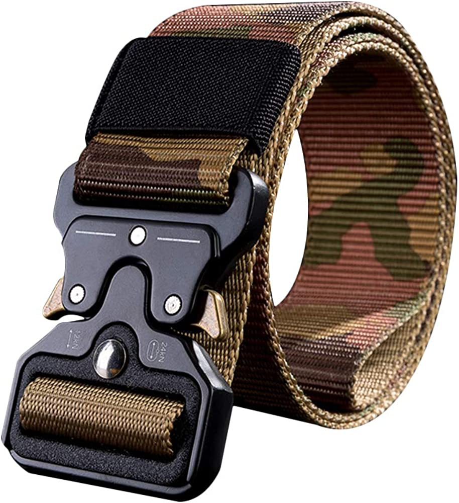 Mens Military Belt Automatic Metal Buckle Training Belt Quick Release Striped Canvas Belt Nylon Belt