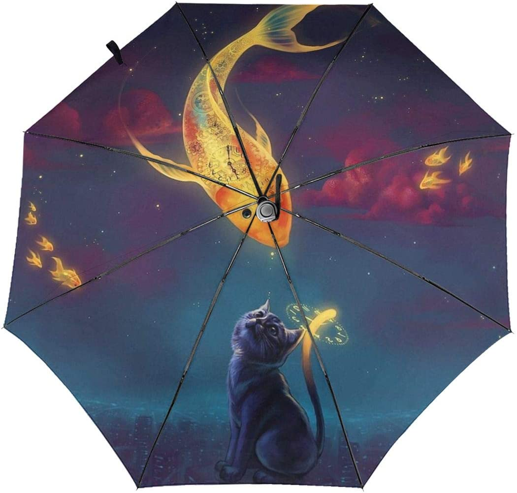 Nature Art Cat Goldfish Automatic Tri-Fold Umbrella Parasol Sun Umbrella Sunshade