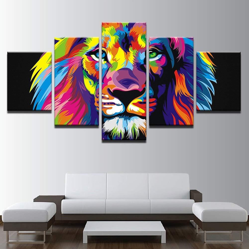 Color : Frameless, Tama/ño : 25x50cm LJFYXZ Decoraci/ón De Arte De Pared Imprime Le/ón de Color Decoracion de Fondo Arte Abstracto Dormitorio Sala de Estar Lona Impermeable Conjunto de 5 Piezas