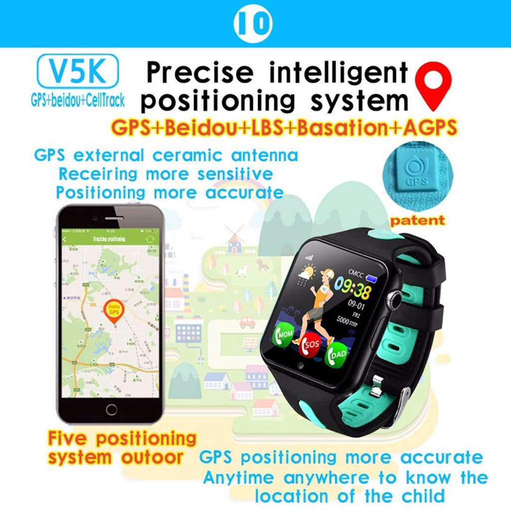 SGYH GPS Watch Phone for Kids, HD Color Screen Smartwatch Voice Smart Watches Safety Anti-Lost Waterproof Tracker for Children Girls Boys Phone Watch for Android iOS (Black+Green) by SGYH (Image #5)