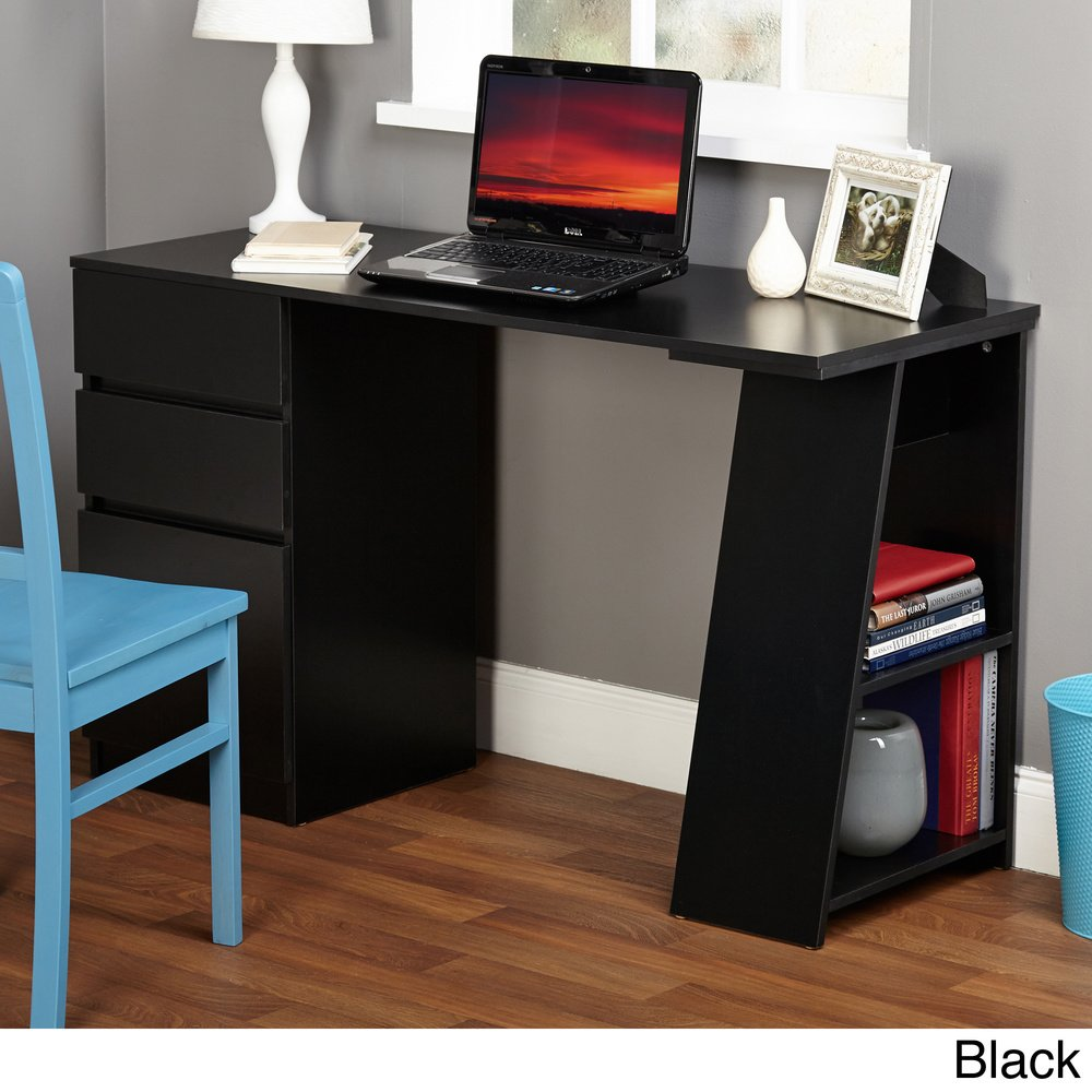 Modern Writing Computer Desk. Blend Modern Design and Function. Includes Shelves and Drawers for Storage. Perfect Office, Dorm Room, or Appartment Furniture (Black)
