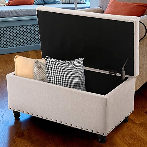BELARDO home 31.9 Rectangular Storage Ottoman Bench with Hinged Lid Footrest Stool Coffee Table, Holds Up to 600lbs, Fabric, Beige