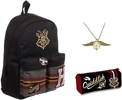 Mochila escolar Harry Potter Hogwarts Alumni + estuche con cremallera + colgante de cadena: Amazon.es: Oficina y papelería