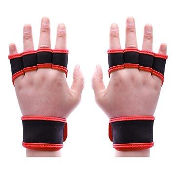 KingNew Fitness - Guantes de muñeca para levantamiento de pesas, entrenamiento cruzado, fitness para mujer (rojo, L): Amazon.es: Deportes y aire libre