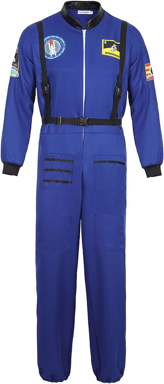 Famajia Mens Astronaut Costume Spaceman Suit Pilot Flight Suit Prisoner Jumpsuit Halloween Adult Costumes