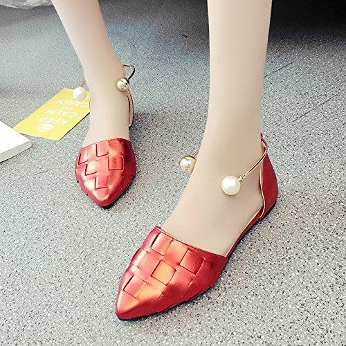 RUGAI-UE Sandalias de verano mujer boca superficial Pearl zapatos de punta plana Zapatos de hebilla Gules
