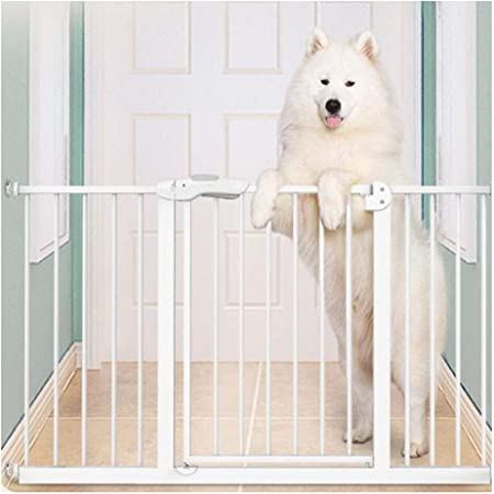 WUFENG-Barrera de seguridad Cerca De Escalera Automática Protección for Mascotas De Alta Y Amplia Presión Puerta De Seguridad Protectora for Bebés O Mascotas (Color : White, Size : 245-254cm): Amazon.es: Hogar