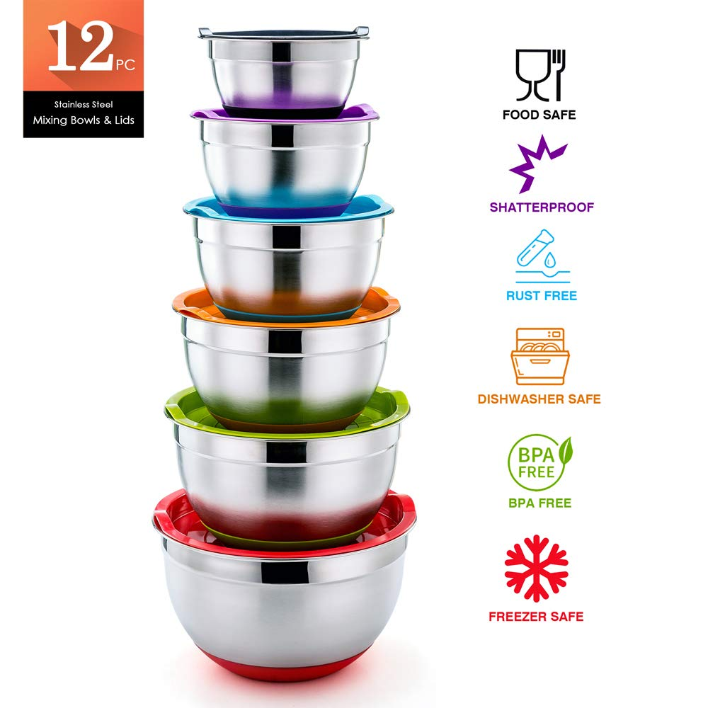 P&P CHEF Mixing Bowls With Lids, Set of 6 (12 Piece), Stainless Steel Nesting Mixing Bowls & Tight Fitting Lids & Non-Slip Silicone Bottom, 6 Multi Size (1/1.5/2.5/3/4/5qt) by P&P CHEF