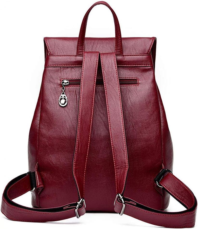 LXUA Damen Rucksack Mode Frauen universal Tasche wasserdicht Rucksack reiserucksack Laptop Tasche Casual Leder Rucksack Damenrucksack (Color : Blue) Red