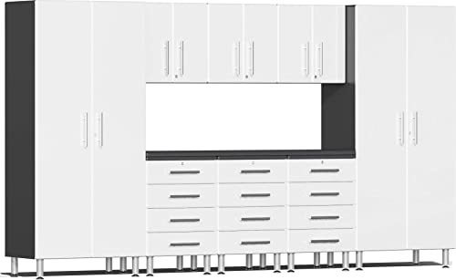 Ulti-MATE UG22091W 9-Piece Garage Cabinet Kit with Channeled Worktop in Starfire White Metallic