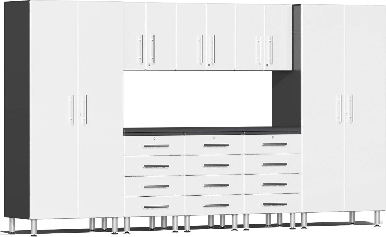 Ulti-MATE UG22091W 9ピース ガレージキャビネットキット 溝付き作業台付き スターファイア ホワイトメタリック   B07M62RN73