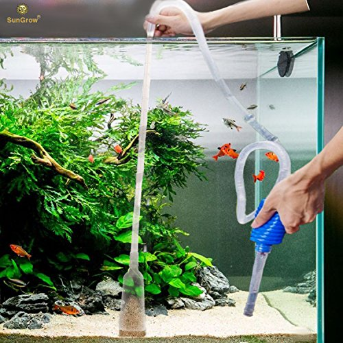 SunGrow Aquarium Cleaning Pump Kit: BPA Free : Easy-to-Use: No spill, Tank Cleaner : Pet-friendly : Long Nozzle Feature - Perfect for Cleaning and Changing Water in Tank (Gravel Vacuum For 10 Gallon Tank)
