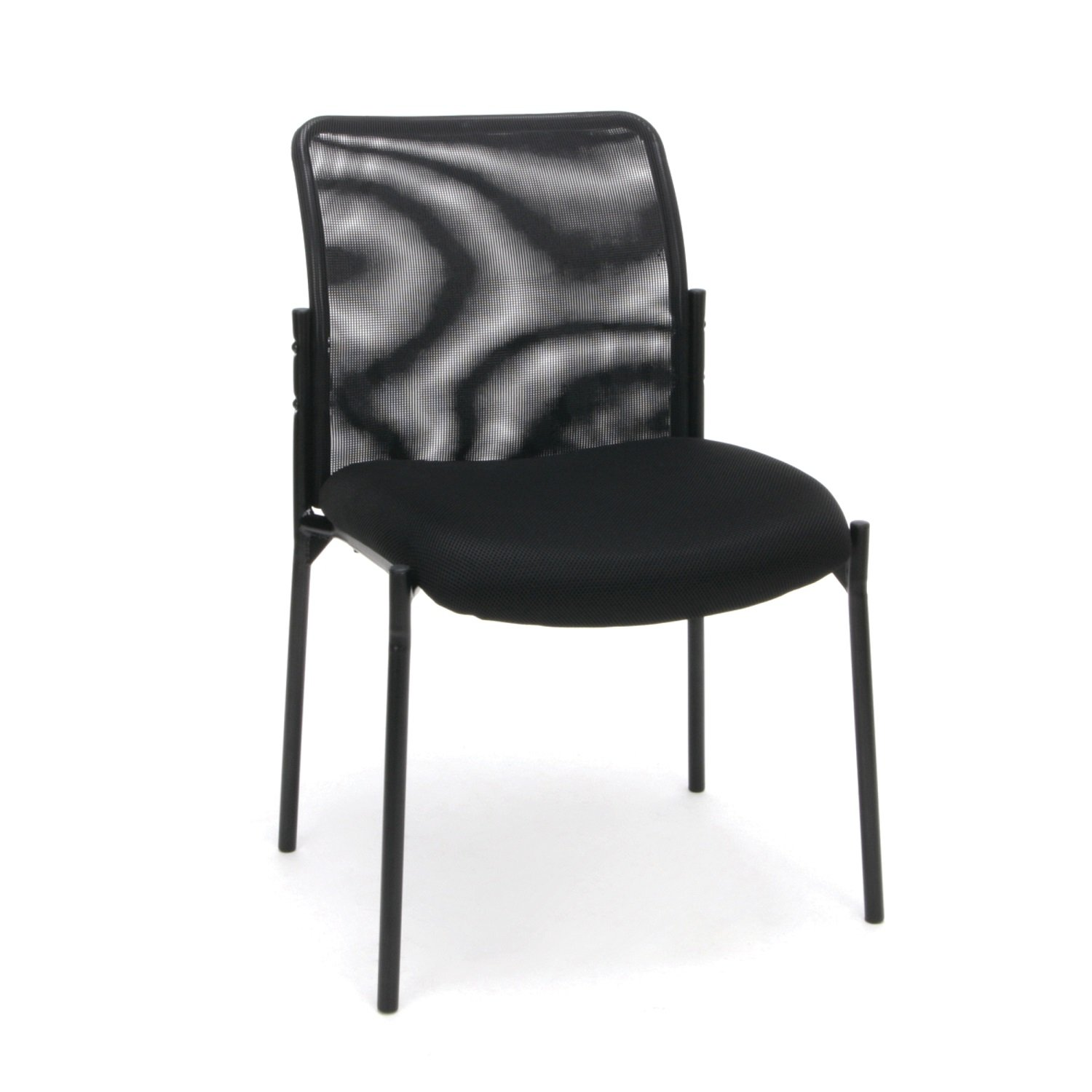 Essentials Mesh Upholstered Stacking Armless Guest/Reception Chair - Modern Stackable Office Chair