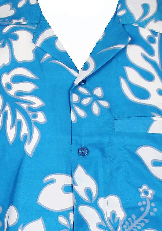 V.H.O Funky Hawaiian Shirt Men Short-Sleeve Front-Pocket Hibiscus Multiple Colors