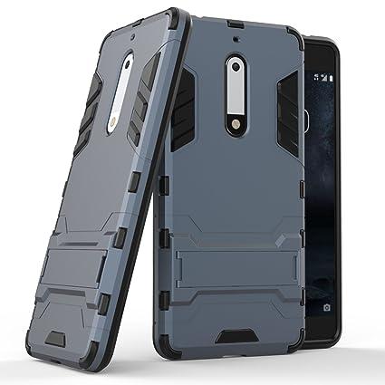 BCIT Nokia 5 Funda Escabroso Durable Estuche Protector TPU/PC Carcasa Case para Nokia 5 - Negro
