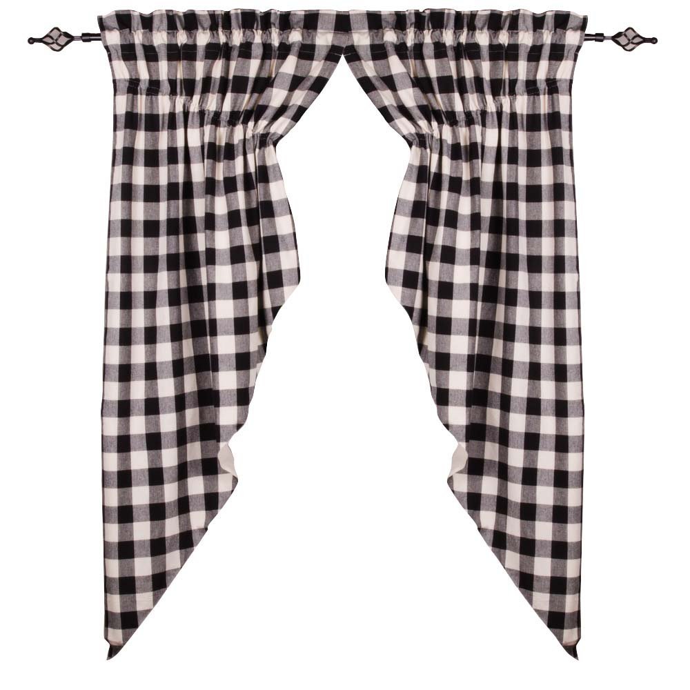 Home Collections by Raghu 72x63 (2 pcs) Buffalo Check Black-Buttermilk Gathered Swag