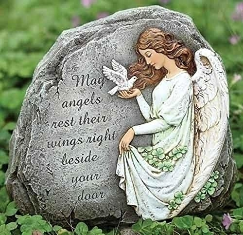 Roman Joseph's Studio Irish Angel with Blessing Outdoor Garden Stone by Roman