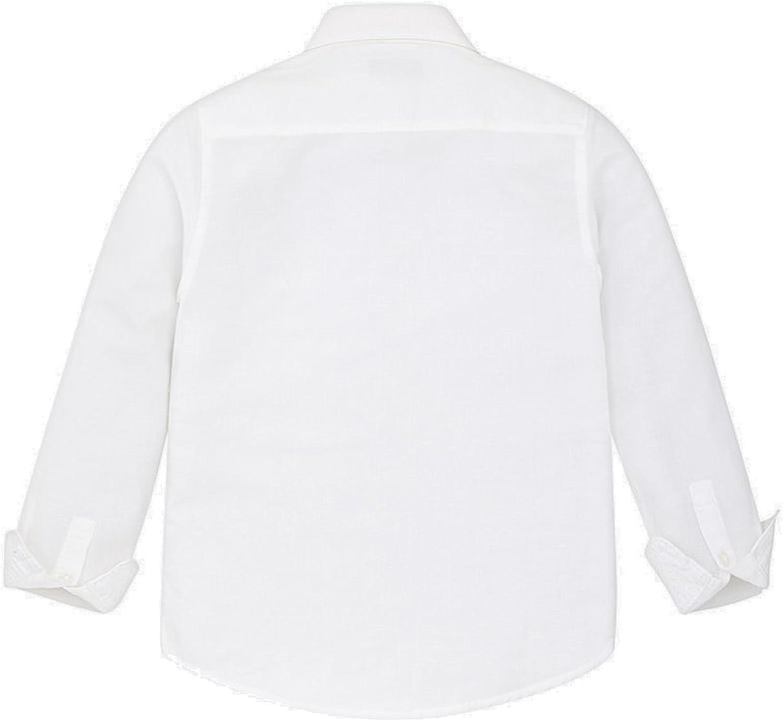 Mayoral Festliches Jungenhemd Hemd Langarm Leinen Slim Fit wei/ß 872