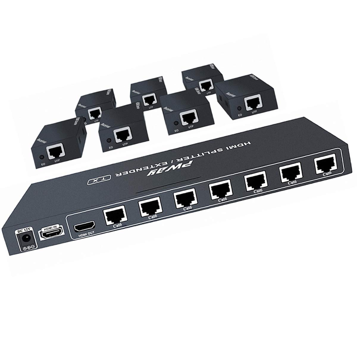 AAO HDMI Extender Splitter 1x8, Support UHD 1080P@60Hz & 3D Visual, 7 Channel Transmit 165ft (50m) Over CAT5e/CAT6/CAT7, with HDMI Loop Out.