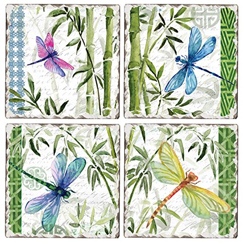 Tile Dragonfly Coaster - CounterArt Set of 4 Assorted Tumbled Tile Coasters, Bamboo and Dragonflies