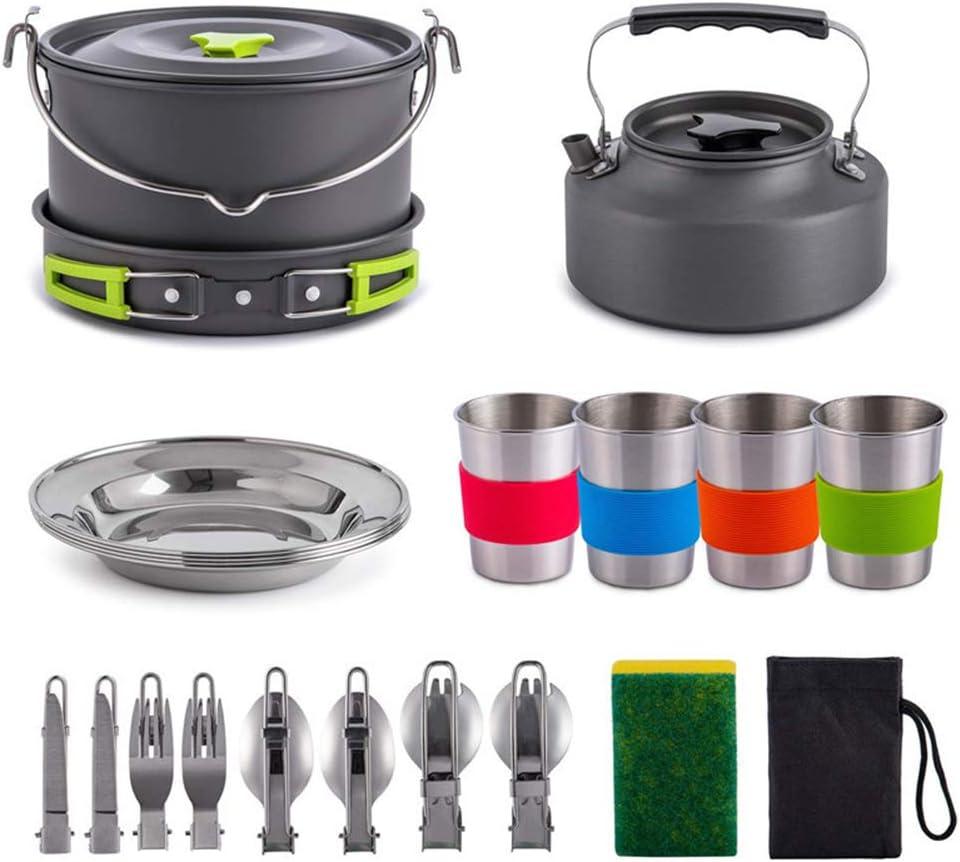Kit de utensilios de cocina para acampar para 3-4 personas Juego de cocina portátil de acero inoxidable, sartenes para mochilas para fogatas y platos para ollas Equipo para hervir al aire libre Picni