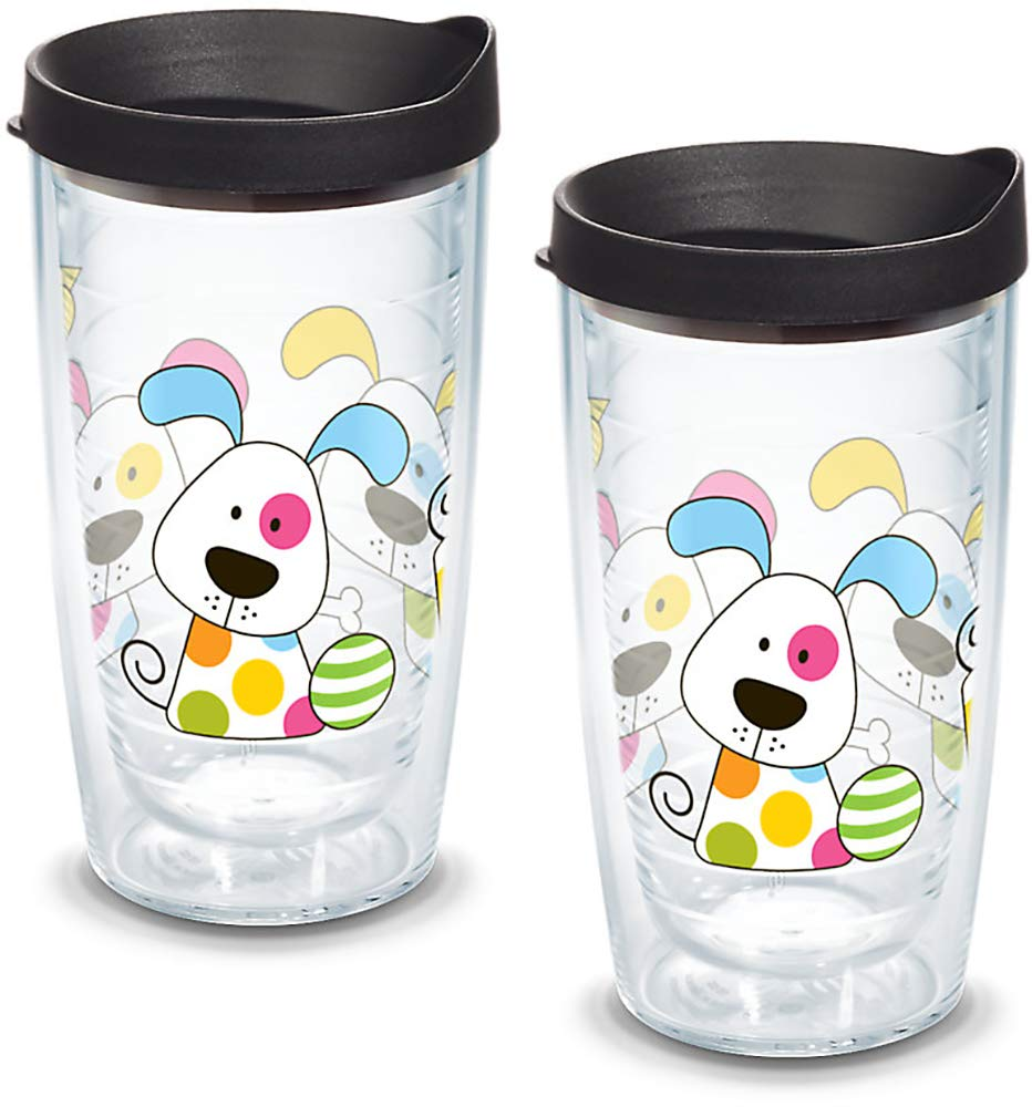 16oz Clear Tervis 1081140 Polka Dot Dog Insulated Tumbler with Wrap and Black Lid 2 Pack-Boxed