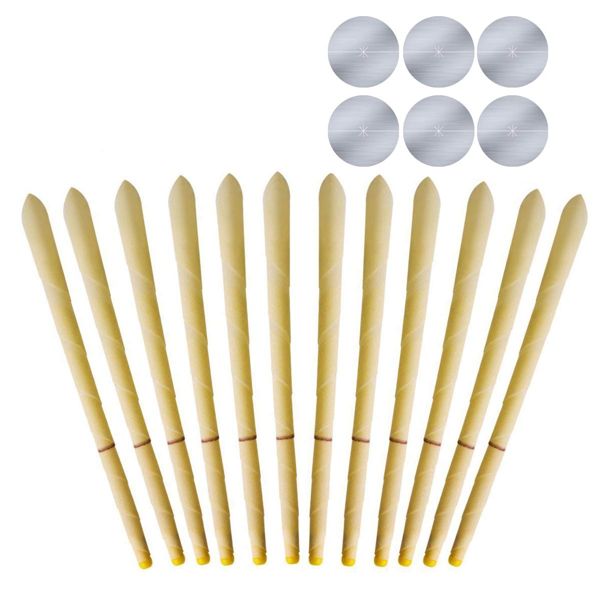 12pcs 100% Natural and Non-Toxic Beeswax Cone Ear Candle, Hollow Beeswax Earrings Health Care, 6 Protective Disks Included