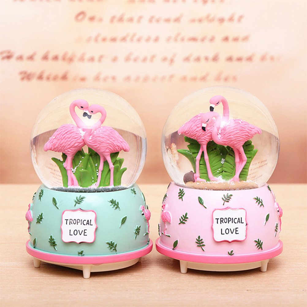 Amazon.com: Duanmei Flamingo Musical Snow Globes Music Boxes with ...