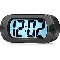 Easy to Set, Plumeet Large Digital LCD Travel Alarm Clock with Snooze Good Night Light, Ascending Sound Alarm & Handheld Sized, Best Kids